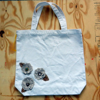 Canvas Tote with Burlap Flowers