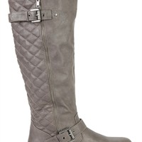 tall flat riding boot side quilting crossover ankle buckle