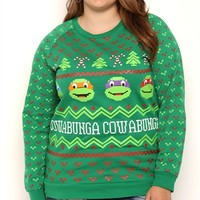 Plus Size Long Sleeve Fair Isle Print Top with Ninja Turtles Screen
