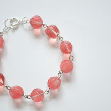 Cherry Quartz Beaded Bracelet - Ready to Ship