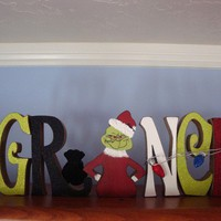 Christmas Home Decor Grinch Wood Letters Christmas Lights