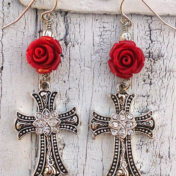 Silver Red Rose Crystal Cross Earrings Religious Christian Jewelry Nickel Free Hypo Allergenic