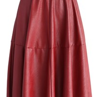 Texture Faux Leather Midi Skirt in Red Red