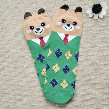 FunShop Woman's Mr Bear and Mr Panda Pattern Cotton Ankel Socks in 2 Colors