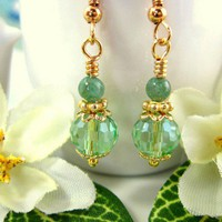 Green peridot crystal jade drop earrings