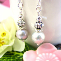 Silver pearl Chinese drop earrings