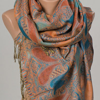 Pashmina Scarf or Shawl. Orange and Blue Paisley Long Scarf. Winter Neck wrap. Women Accessories. Christmas Gift.