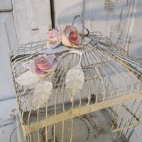 French Nordic blue birdcage rusty distressed metal bird cage display embellished pink cottage roses home decor Anita Spero Design