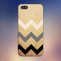 Gold Glitter x Tan Grey Black Chevrons Design Case for iPhone 6 6 Plus iPhone 5 5s 5c iPhone 4 4s Samsung Galaxy s5 s4 & s3 and Note 4 3 2