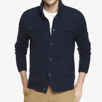 WOOL BLEND MOCK NECK CARDIGAN from EXPRESS