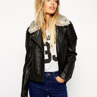 ASOS Leather Biker Jacket With Quilt Detail And Faux Fur Collar at asos.com