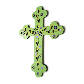 Decorative Cross, hand painted wooden cross in mint green with purple flowers and metallic gold flourishes, floral cross