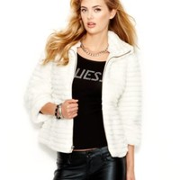 GUESS Stand-Collar Faux-Fur Cropped Jacket | macys.com
