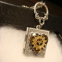 Steampunk Neo Victorian Clockwork Gears Heart - Book LOCKET Necklace-  (1869)