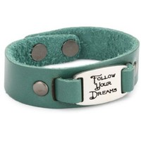 "Dillon Rogers I.D. Band ""Follow Your Dreams"" Teal Cuff Leather Bracelet - designer shoes, handbags, jewelry, watches, and fashion accessories 