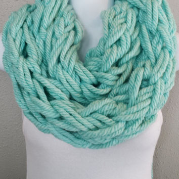 Mint Yarn Arm Knitted Infinity Scarf Wintergreen Extra Bulky Arm Knit Fashion Scarf Girls Mint Green Knitting Scarves Gift for Her Stocking