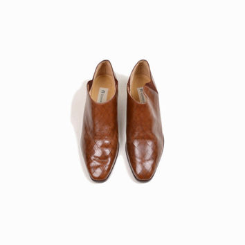 Vintage Diamond Cut Brown Leather Ankle Boots Booties - 6.5