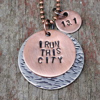 I Run This City Pendant in Copper with Distance Charm and Accent Disc in Nickel for Runners