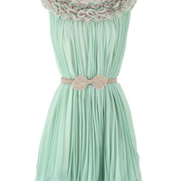 3D Flower Trim Pleated Frilled Hemline Dress - Retro, Indie and Unique Fashion