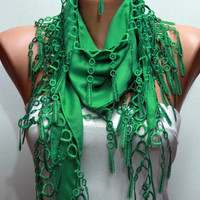 Pigment Green Scarf  -  Pashmina Scarf  -  Cowl Scarf with Lace Edge - fatwoman