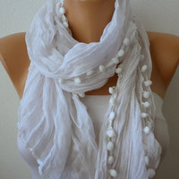 White Women Shawl Scarf - Cowl with pompom - Off White