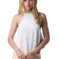 Ride With Me Lace Tank - White