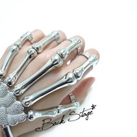 Skeleton Hand Ring Bracelet Cuff