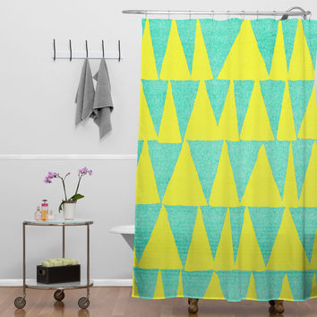 Nick Nelson Analogous Shapes With Gold Shower Curtain
