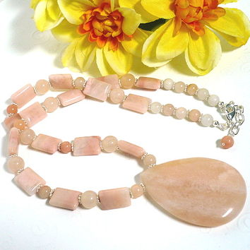 Peach Jade Pendant with Peach Aventurine and Blush Quartz Necklace