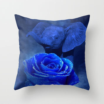Blue Elephant and Rose Throw Pillow by Erika Kaisersot