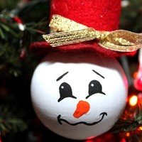 Merry Snowman Ornament For Your Christmas Tree Red Felt Top Hat