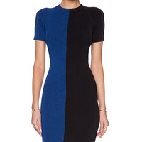 T by Alexander Wang Two Tone Short Sleeve Dress in Blue