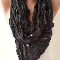 ON SALE - Black and Silky Scarf - Embroidered Fabric