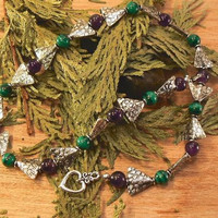 Malachite Amethyst and Silve Tone Triangle Bead Necklace