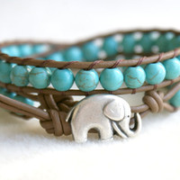 Turquoise Magnesite Boho beaded leather wrap bracelet, 2x Wrap bracelet, Good Luck elephant, Chan Luu style, blue, green