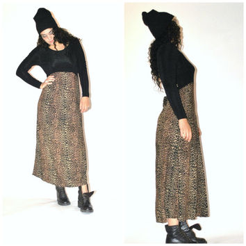 animal print MAXI dress / vintage early 90s grunge LEOPARD relaxed fit long JERSEY dress os medium