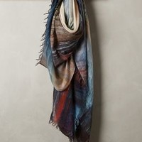 Milana Feathered Scarf by Suzi Roher Blue Motif One Size Scarves