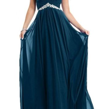Gorgeous Bridal 2015 Tulle and Chiffon Long Evening Prom Gown Rhinestones- US Size 2