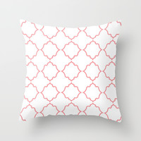 Moroccan Coral Throw Pillow by House Of Jennifer