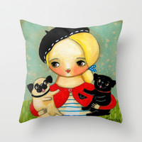 French girl with black pug and fawn pug Throw Pillow by Tascha