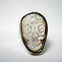 White Cloud Custom Sugar Skull Day of the Dead Ring