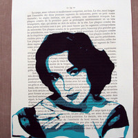 Pop Art Print on Vintage Book Page Glamourous in Blue