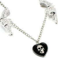BADASS Rockabilly Gothic Necklace - Dead Robin - with Double Pistols and Black Heart Dangle - Skull Motif - By Ghostlove