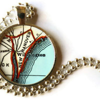 Wilmington, North Carolina map necklace pendant charm, North Carolina Map Jewelry