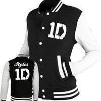 ONE DIRECTION inspired Varsity Jacket Top 1D tour black/white. S, M, L & XL