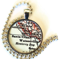 Santa Cruz pendant necklace, Watsonville, Monterey bay charm, Santa Cruz Jewelry