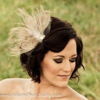 Vintage Ivory Peacock Feather Hair Fascinator by StudioWedbyMirela