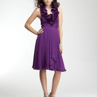 Ruffle Halter Satin Dress
