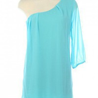 LIGHT BLUE  LOVELY CHIFFON DRESS WITH ONE SHOULDER WITH 3/4 SLEEVE LENGTH @ KiwiLook fashion