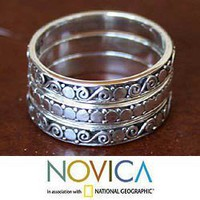 Set of 3 'Sterling Silver 'Together' Band Rings (Indonesia) | Overstock.com